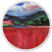 Round Beach Towel featuring the painting Red Field Landscape by Betty Pieper