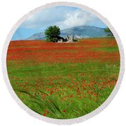 Red Fields Round Beach Towel by Judy Kirouac