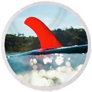 Red Fin Round Beach Towel