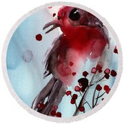 Red Finch In The Winterberry Round Beach Towel