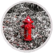Red Fire Hydrant Round Beach Towel