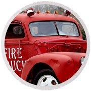 Red Fire Truck Round Beach Towel
