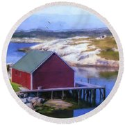 Red Fishing Shed On The Cove Round Beach Towel by Ken Morris