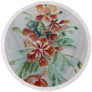 Red Flamboyant Flowers Still Life In Watercolor  Round Beach Towel by Geeta Biswas
