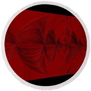 Red And Black Design Round Beach Towel