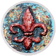 Round Beach Towel featuring the painting Red Fleur De Lis by Genevieve Esson