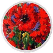 Red Floral Round Beach Towel