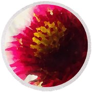 Red Flower Abstract Round Beach Towel