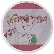 Red Flower Vine Round Beach Towel by Hilda and Jose Garrancho