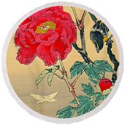 Red Flower With Bird 1870 Round Beach Towel by Padre Art