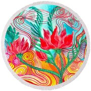 Round Beach Towel featuring the painting Red Flowers by Adria Trail