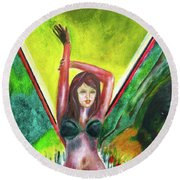 Red Flowers And The Girl In Green Round Beach Towel