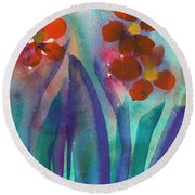 Red Flowers Round Beach Towel