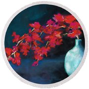 Red Flowers Round Beach Towel by Frances Marino