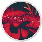 Red Flowers Parametric Round Beach Towel by Sharon Mau