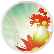 Round Beach Towel featuring the photograph Red Flowers Spring by Carlos Caetano