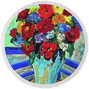 Red Flowers You Brought Round Beach Towel