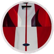 Round Beach Towel featuring the photograph Red Ford Gt Hood by Joel Witmeyer