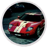 Red Ford Gt Round Beach Towel
