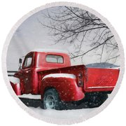 Red Ford Pickup Round Beach Towel