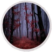 Red Forest 2 Round Beach Towel by Bekim Art