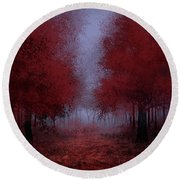 Red Forest Round Beach Towel by Bekim Art
