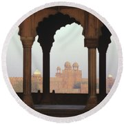 Red Fort From The Jama Masjid Round Beach Towel
