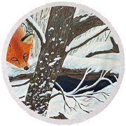 Red Fox And Cardinal Round Beach Towel