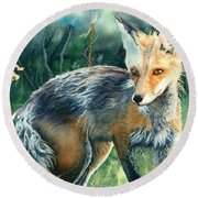 Round Beach Towel featuring the painting Red Fox- Caught In The Moment by Barbara Jewell