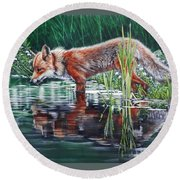 Red Fox Reflecting Round Beach Towel
