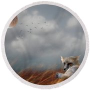 Red Fox In The Moonlight Round Beach Towel