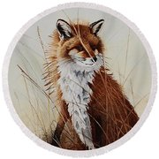 Red Fox Waiting On Breakfast Round Beach Towel