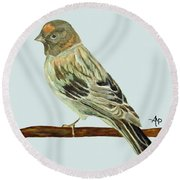 Red-fronted Serin Round Beach Towel