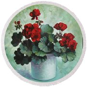Red Geranium Round Beach Towel
