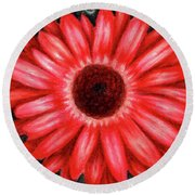 Red Gerbera Daisy Drawing Round Beach Towel