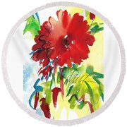 Gerberas Red, White, And Blue Round Beach Towel