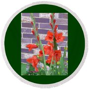 Red Gladiolas Round Beach Towel