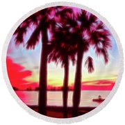 Round Beach Towel featuring the photograph Red Glow Beach Sunset by Aimee L Maher Photography and Art Visit ALMGallerydotcom