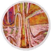 Red-gold Autumn Glow River Tree Round Beach Towel
