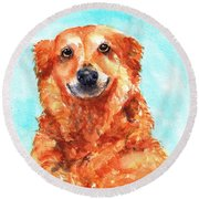 Round Beach Towel featuring the painting Red Golden Retriever Smile by Carlin Blahnik CarlinArtWatercolor