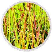Red Green And Yellow Grass Round Beach Towel