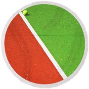 Red Green White Line And Tennis Ball Round Beach Towel