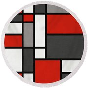 Red Grey Black Mondrian Inspired Round Beach Towel