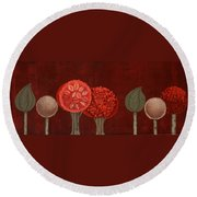 Red Grove Round Beach Towel