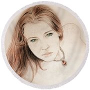 Round Beach Towel featuring the drawing Red Hair And Freckled Beauty by Jim Fitzpatrick