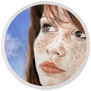 Red Hair And Freckled Beauty Version II Round Beach Towel by Jim Fitzpatrick
