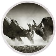 Red Hartebeest Dual In Dust Round Beach Towel