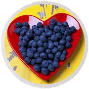 Red Heart Plate With Blueberries Round Beach Towel by Garry Gay