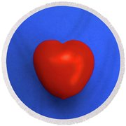 Red Heart Tomato On Blue Round Beach Towel