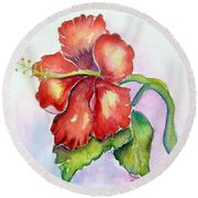 Round Beach Towel featuring the painting Red Hibiscus by Patricia Piffath